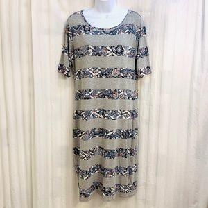 LuLaRoe Julia grey & floral pattern striped dress
